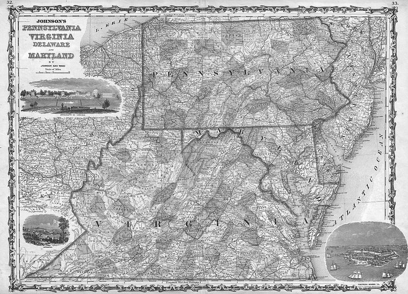 Shippensburg (PA) United States  city pictures gallery : 1862 PA MAP Newville Shippensburg Lewistown Dubois History ...