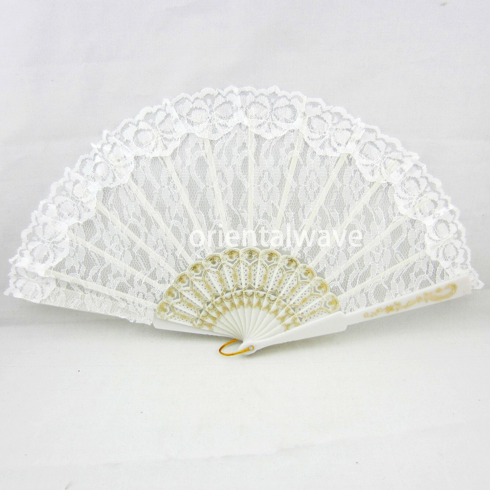 White Elegant Gold Lace Transparent Spanish Wedding Party Hand Fan Beautiful O 349