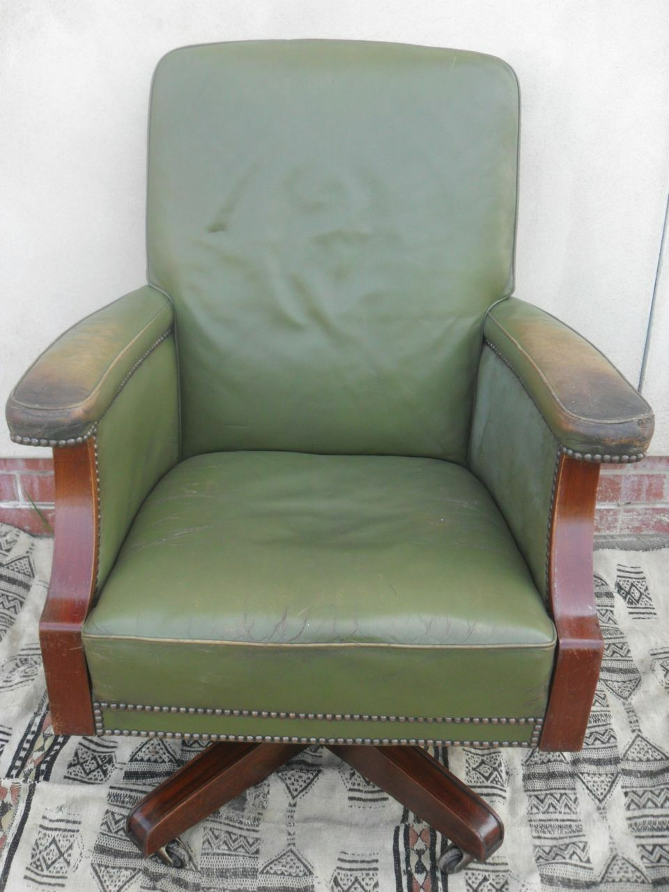 Green Leather Upholstered and Studded Swivel Desk Chair