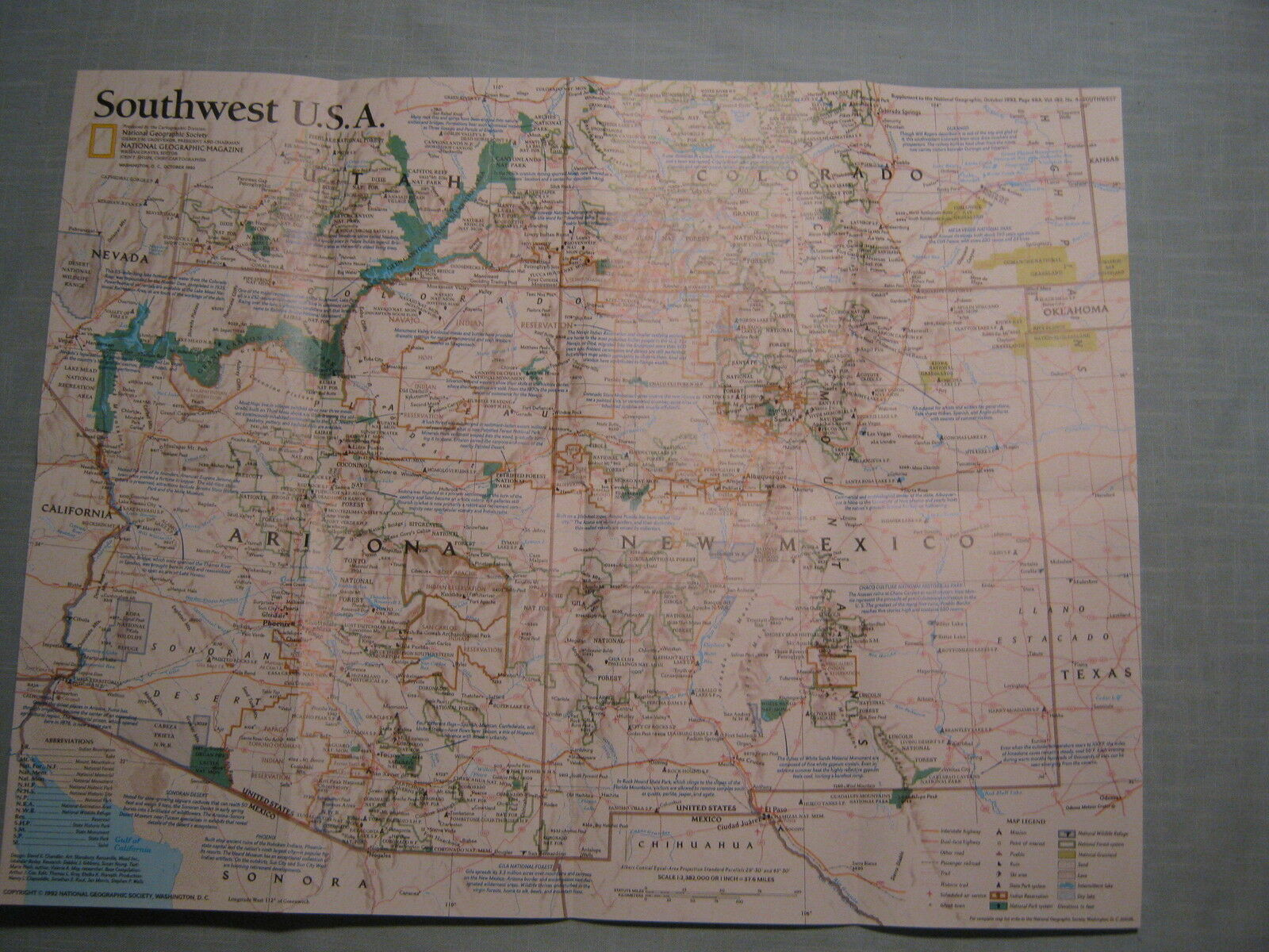 Southwest U S A Map Zion Grand Canyon National Geographic October 1992 Mint
