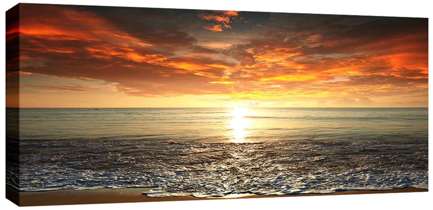LARGE SUNSET SEA Beach Canvas Picture Wall Art 113 x 52 cm chunky ...