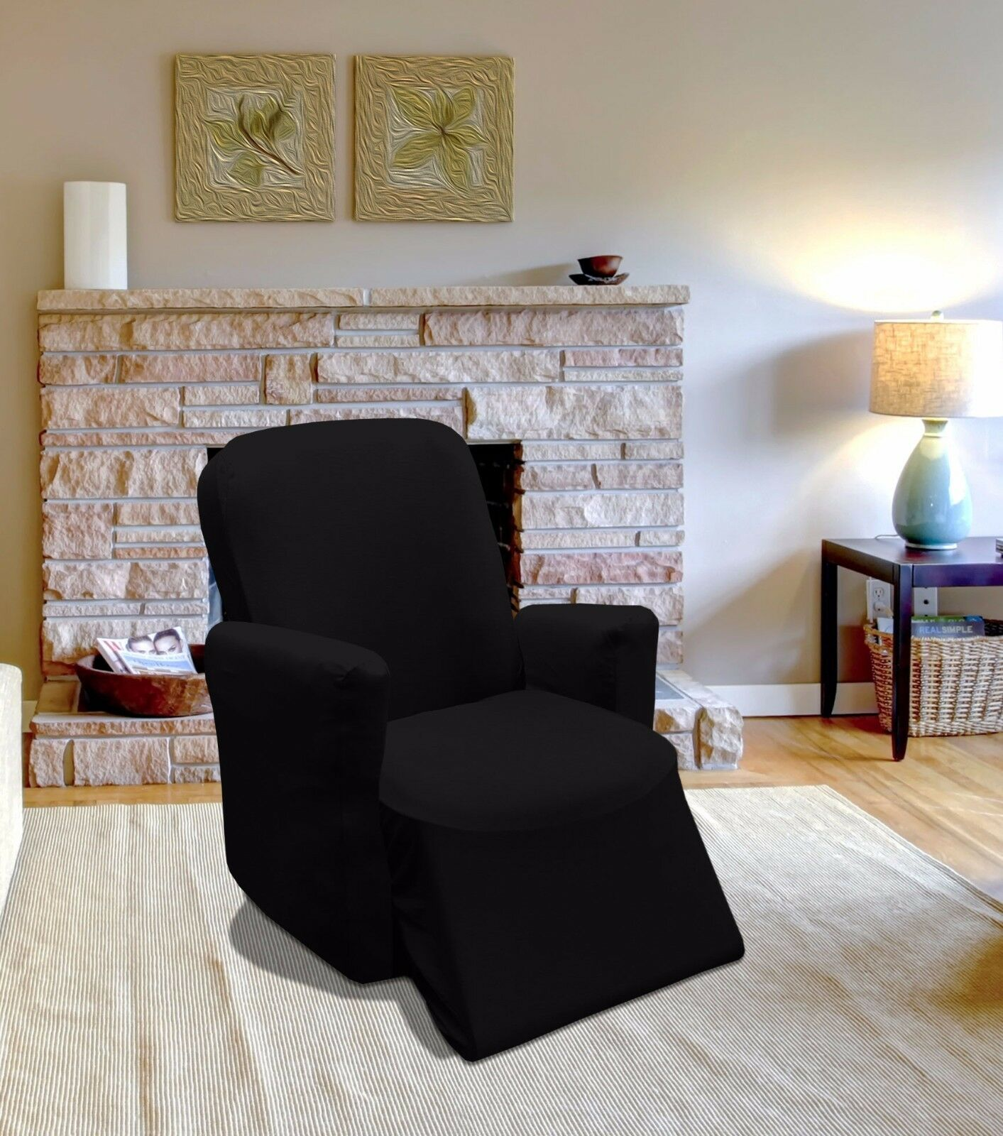 Black jersey recliner stretch slipcover couch cover for Black furniture slipcovers