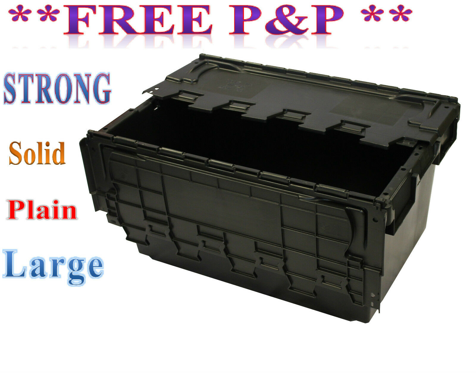 New Large Black Plastic Storage Crate Containers 80L 1