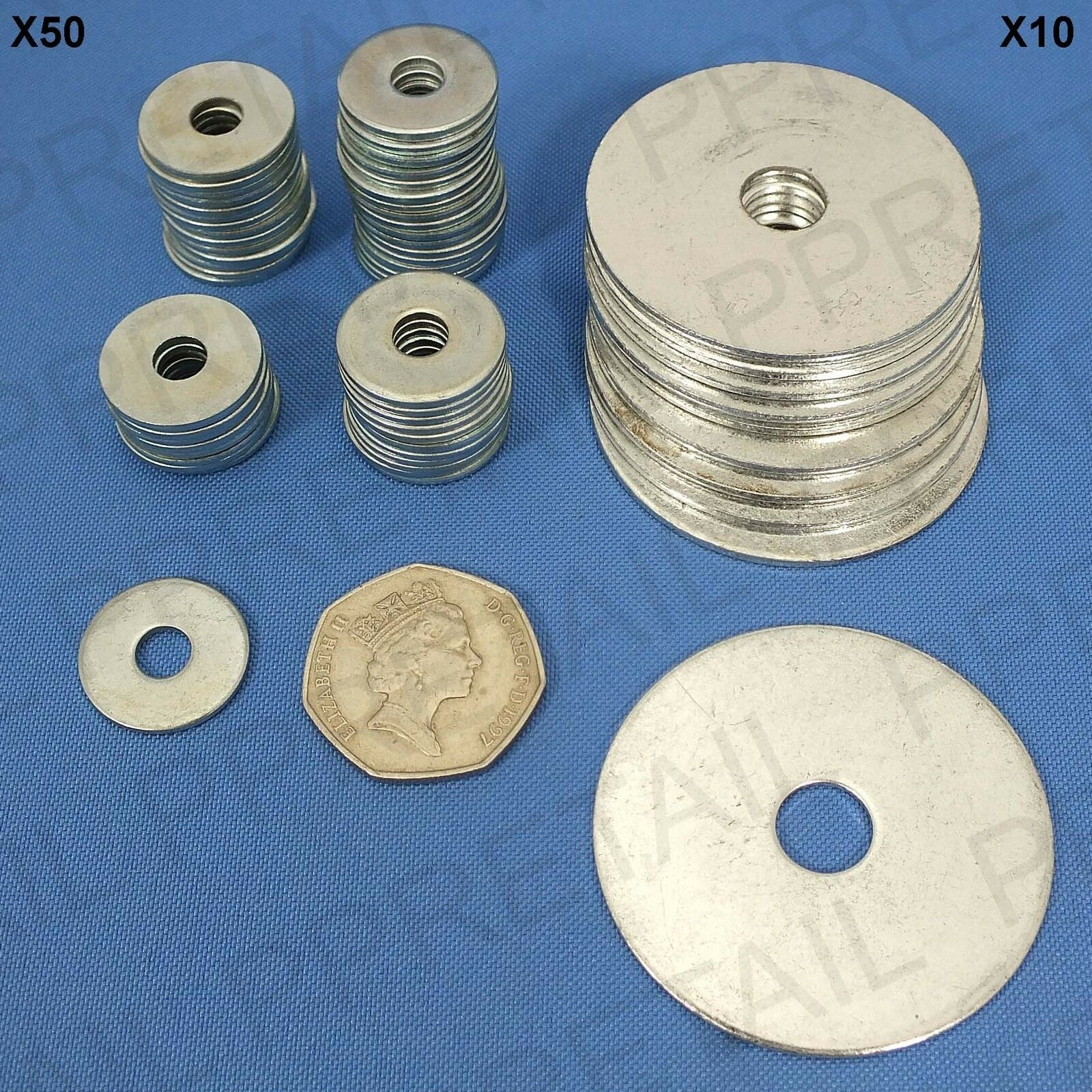 Large Washers Steel Repair Penny Washers 10x Large 50mm 50x Small 20mm Wide