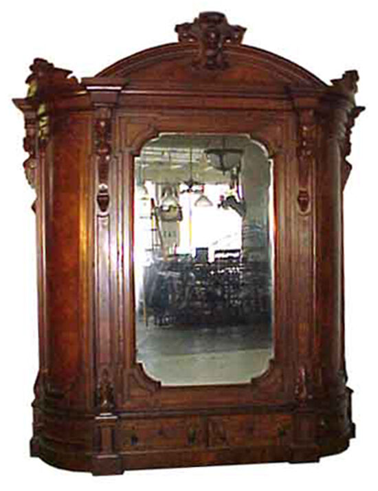 Antique Victorian Armoire with Beveled Mirror #5074