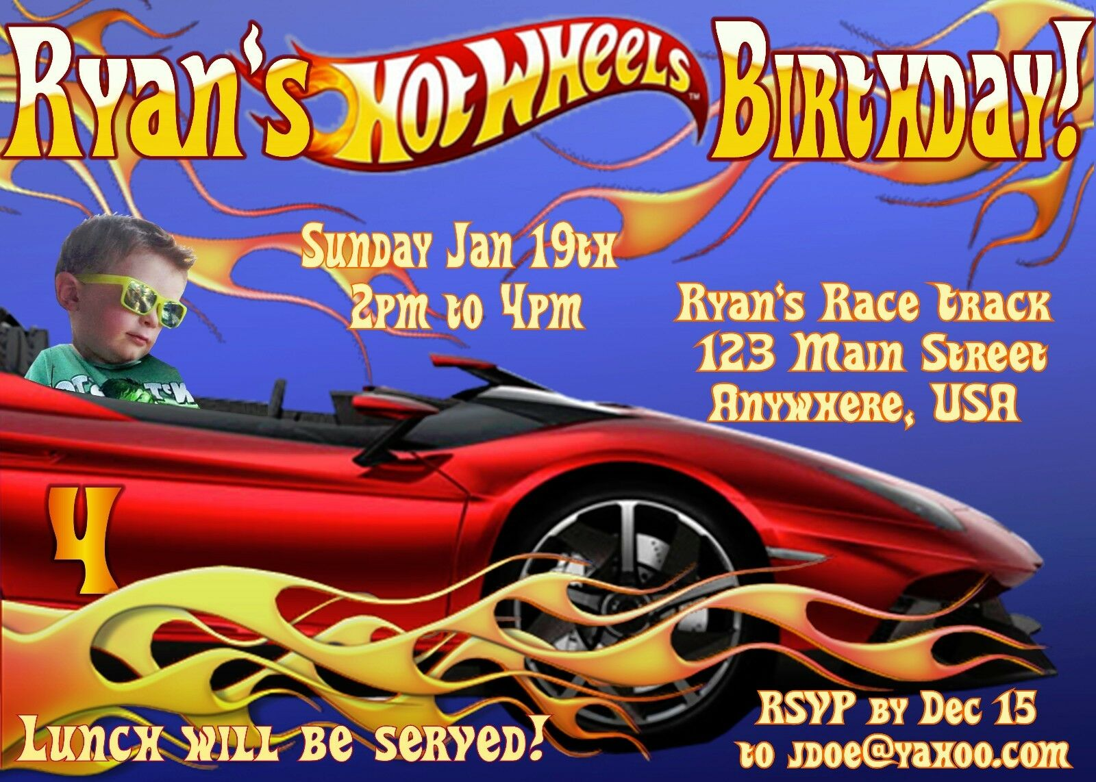 HOT WHEELS PERSONALIZED PHOTO Birthday Invitations - 4x6 OR 5x7 ...