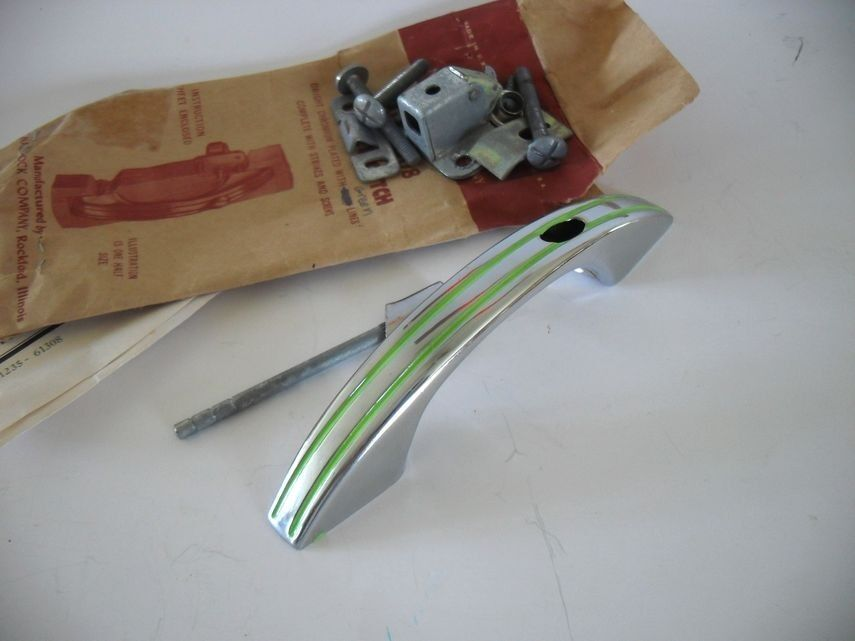 2 Vintage NOS 1950s CHROME & GREEN Lines Cabinet Door Pulls w Push Button Latch