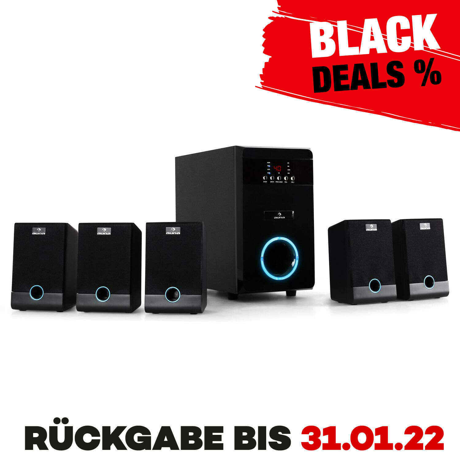 heimkino system aktiv lautsprecher boxen set 5 1 home cinema sound anlage pc tv eur 109 99. Black Bedroom Furniture Sets. Home Design Ideas