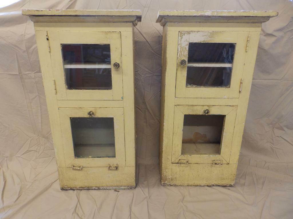 Large Antique Wood Barber Shop Cabinets Cupboards Vintage Yellow Old 3704-14