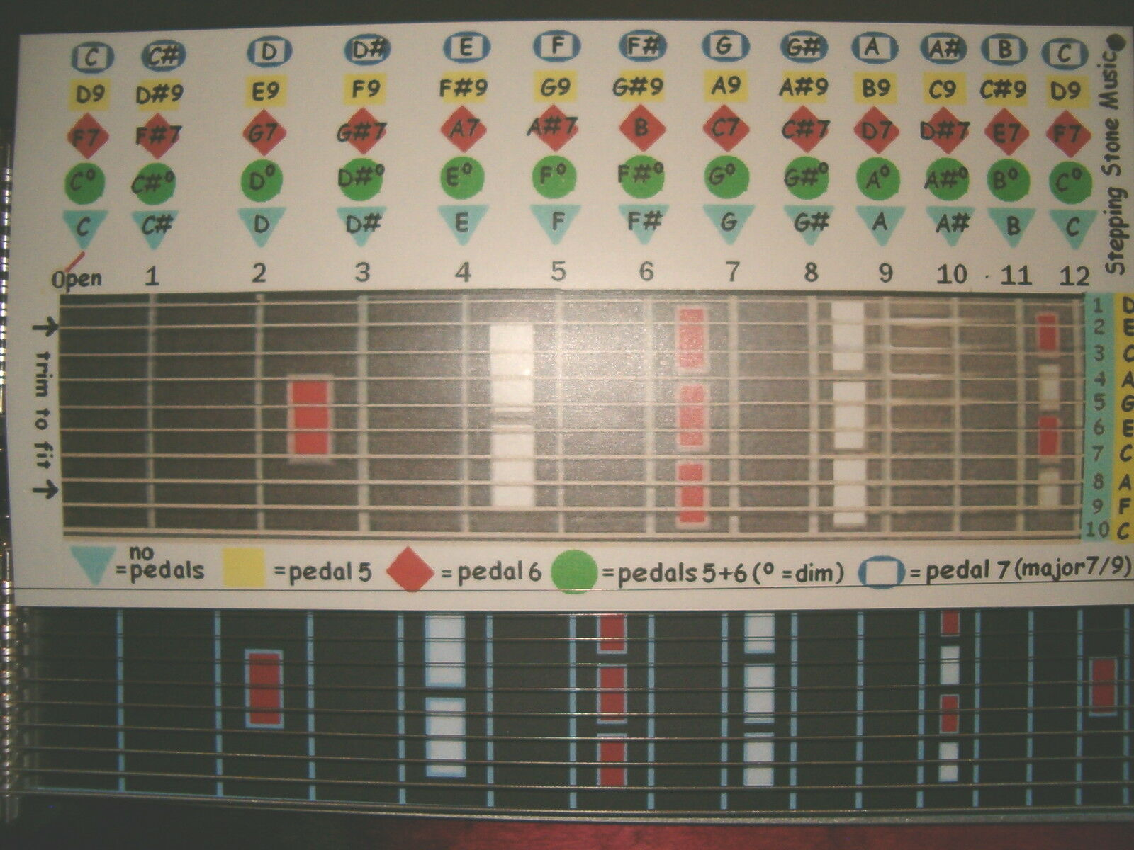 C6 Chordboard For The Pedal Steel Guitar 1200 Picclick
