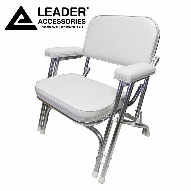 LEADER ACCESSORIES FOLDING Deck Chair with Aluminum frame, White ...