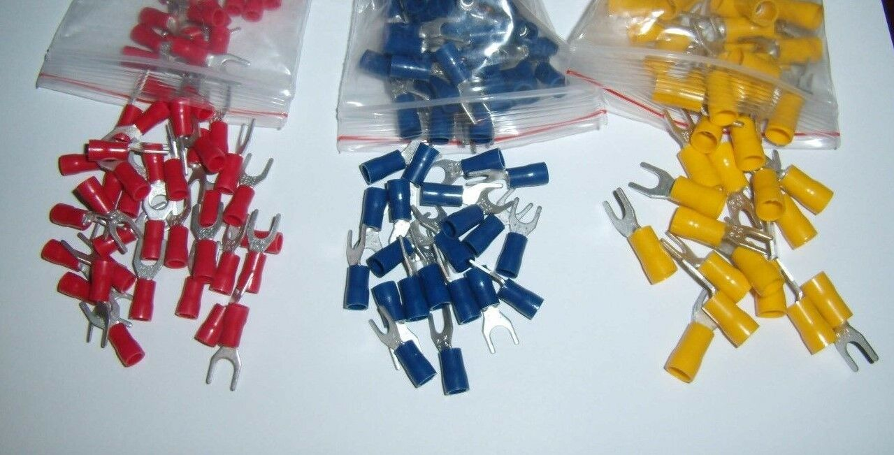 15 #10 CRIMPING Wire Spade Fork Terminal Connector 12-10-16-14-22-18 ...