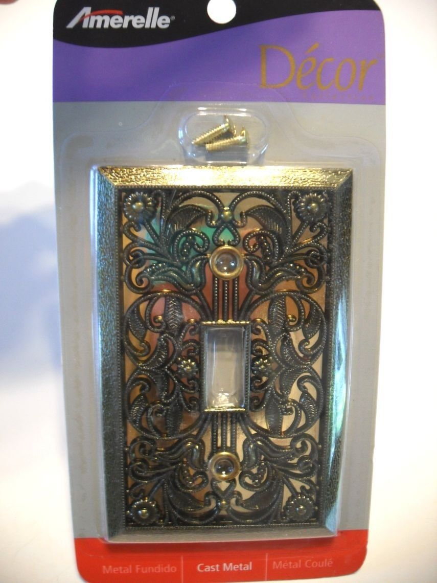 NOS Antique BRASS Plated Single Wall SWITCH Cover Plate Scrolled Design Art Deco