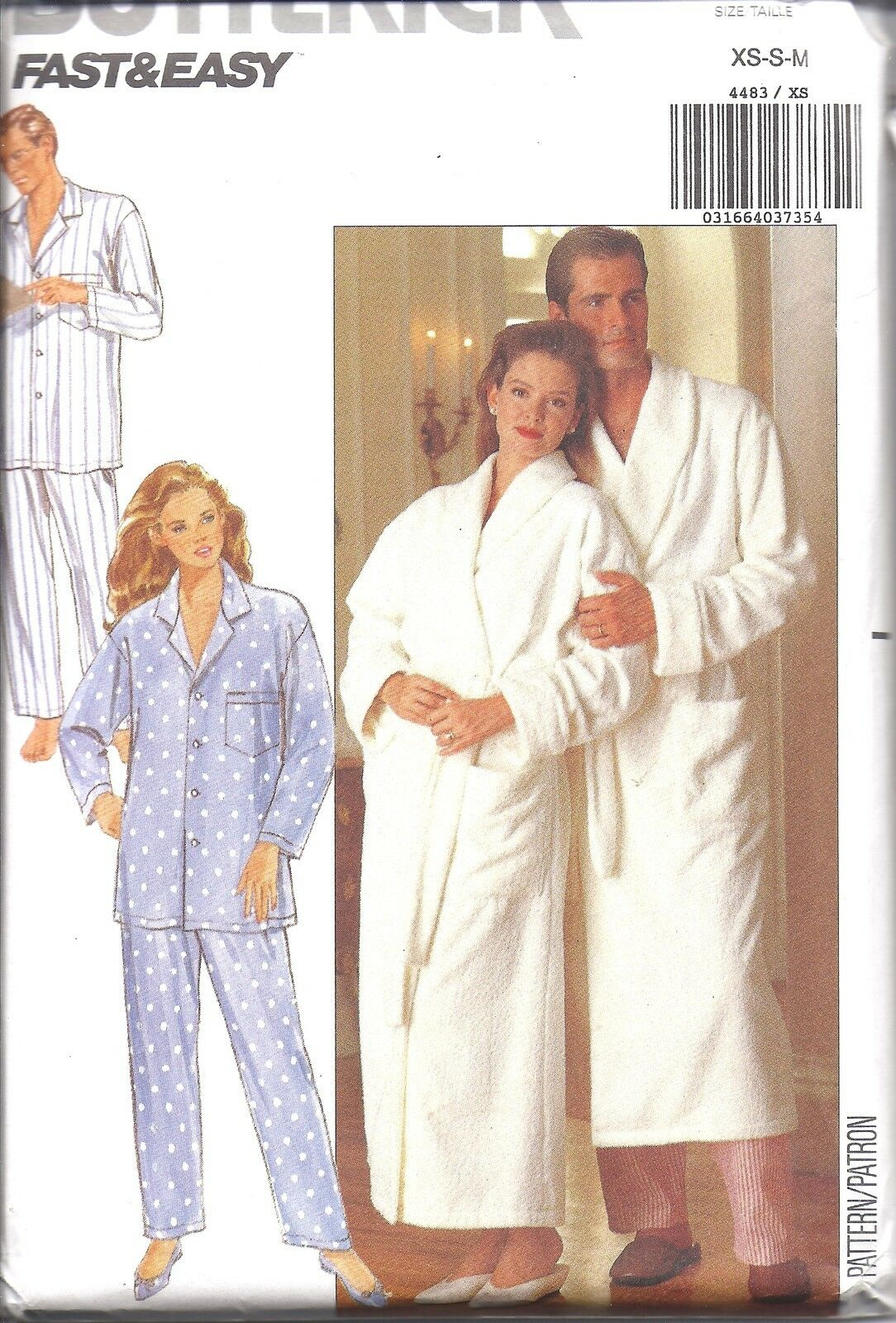 4483 UNCUT BUTTERICK Vintage Sewing Pattern Men\'s Misses Robe Pajama ...