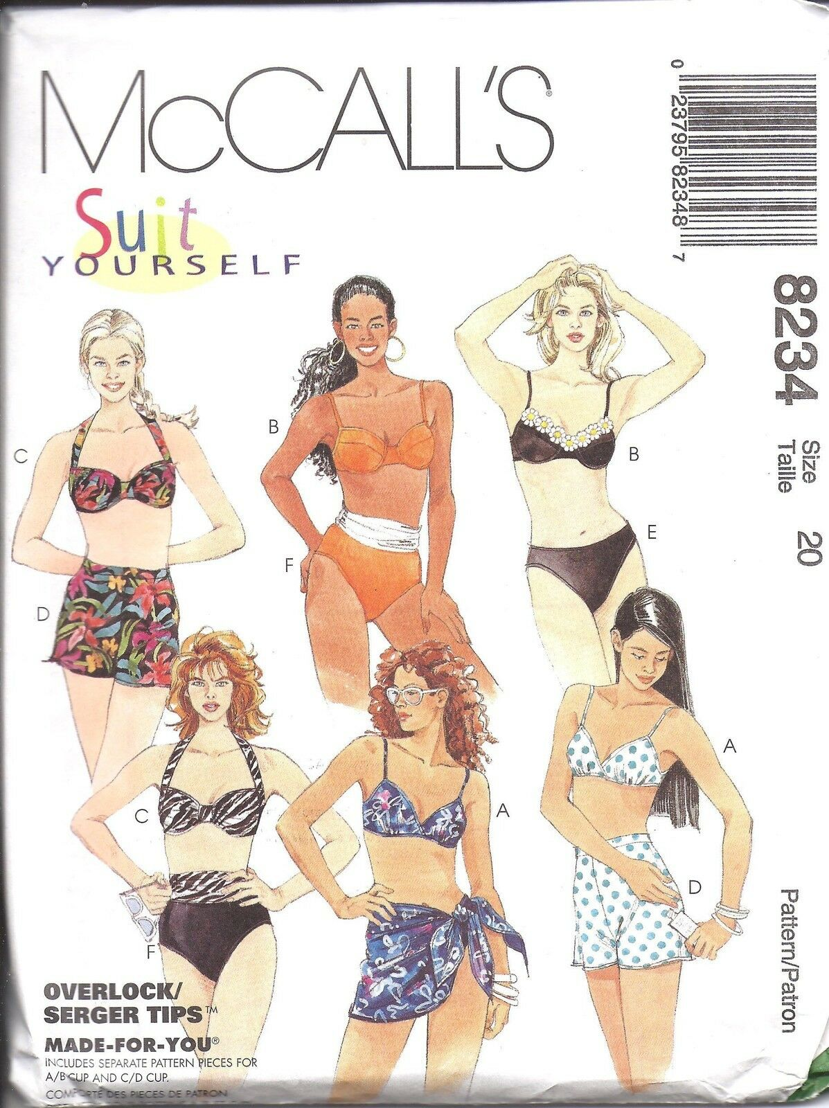 8234 UNCUT MCCALLS Vintage Sewing Pattern Two Piece Swimsuit Sarong ...