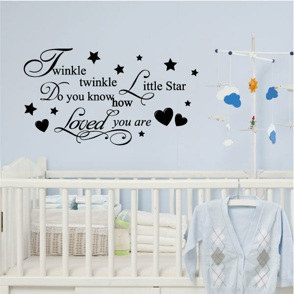 TWINKLE TWINKLE LITTLE Star Wall Quote Stickers, Wall Decals, Wall ...