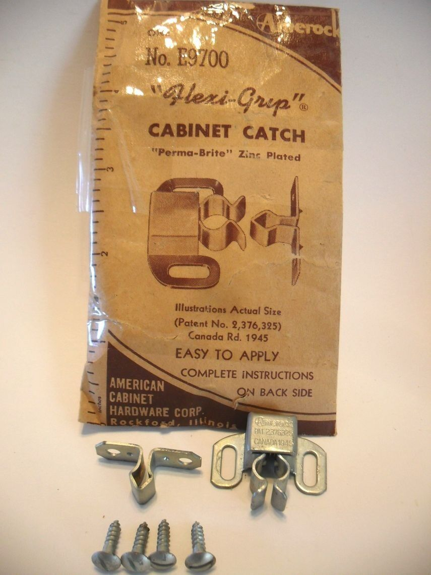 "Vtg 1950s NOS FRICTION Cabinet Door CATCH latch Amerock ""Flexi-Grip"" Zinc Plated"