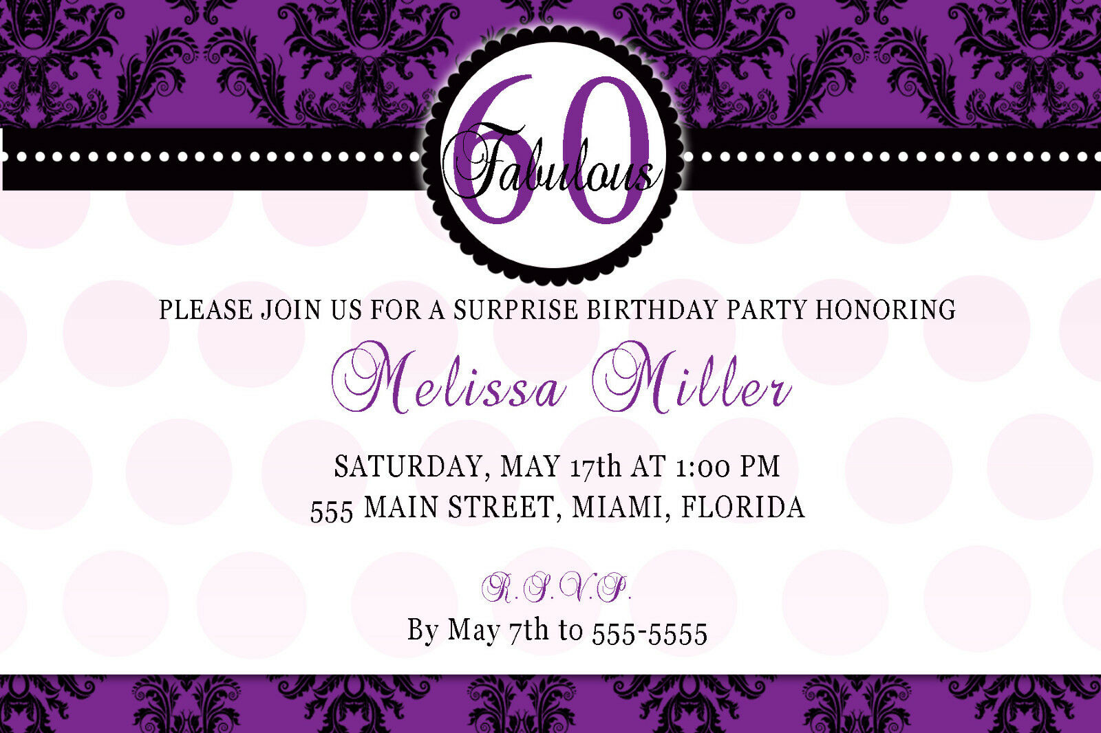 30 INVITATION CARDS 60th Birthday Party Adult Invites Any Age Purple ...
