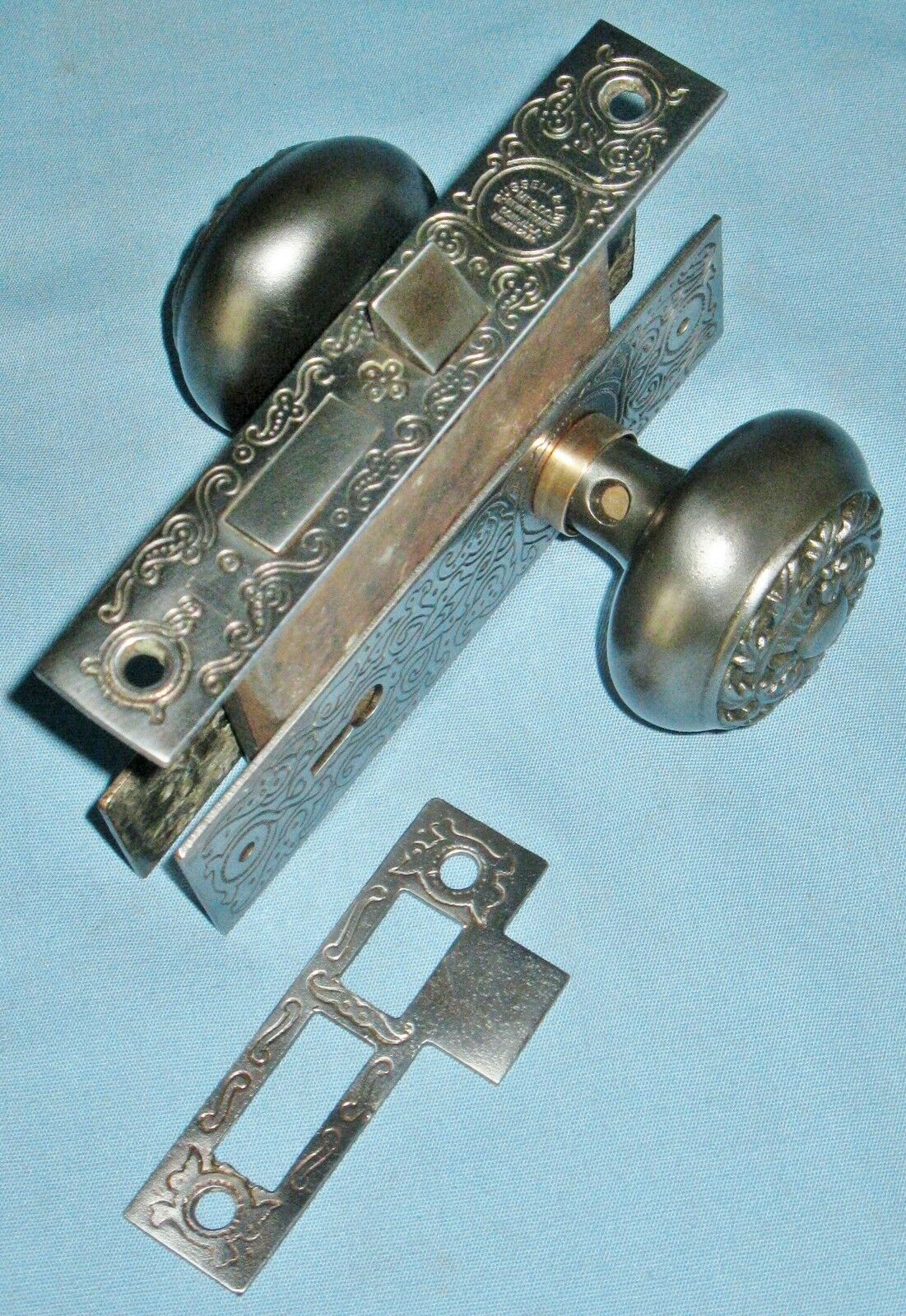 Antique Russell & Erwin Mortise Door Lock Set Faceplate Knobs Backplates Strike
