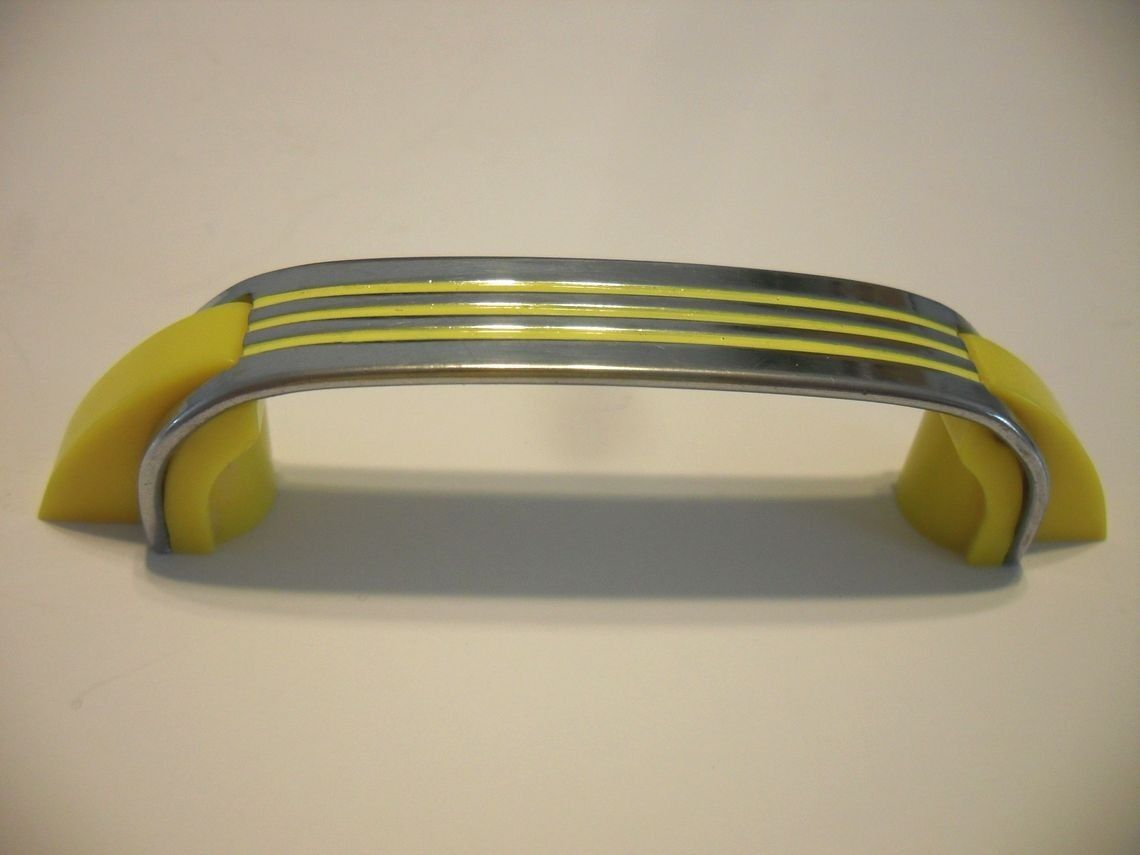 Vtg Antique CHROME YELLOW DRAWER PULLS Plastic End Handles Cabinet Door Handles