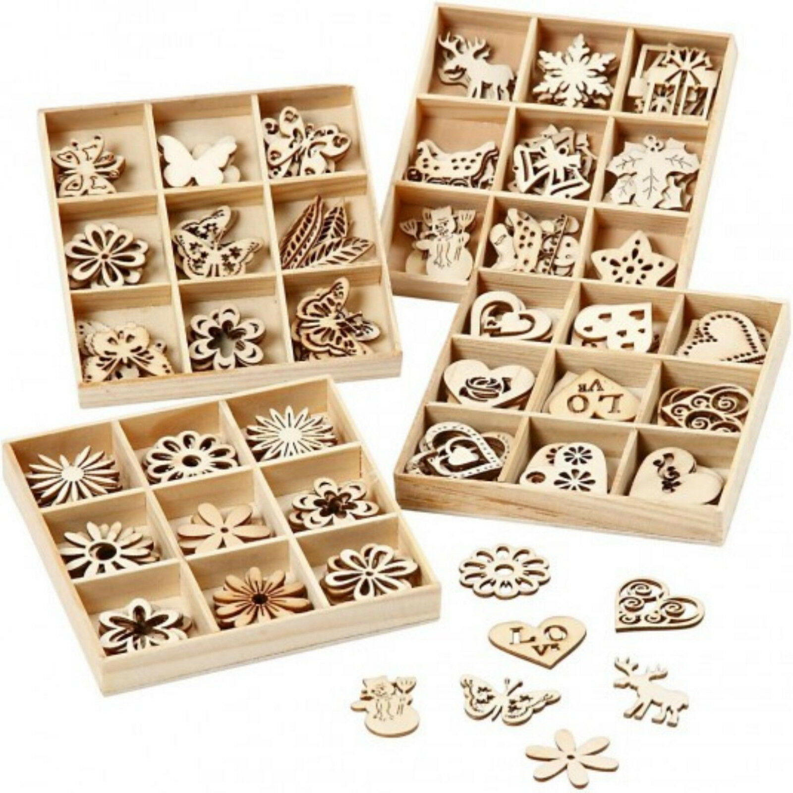 45 streuteile in box holz deko figuren streudeko scrapbooking weihnachten blumen eur 3 90. Black Bedroom Furniture Sets. Home Design Ideas