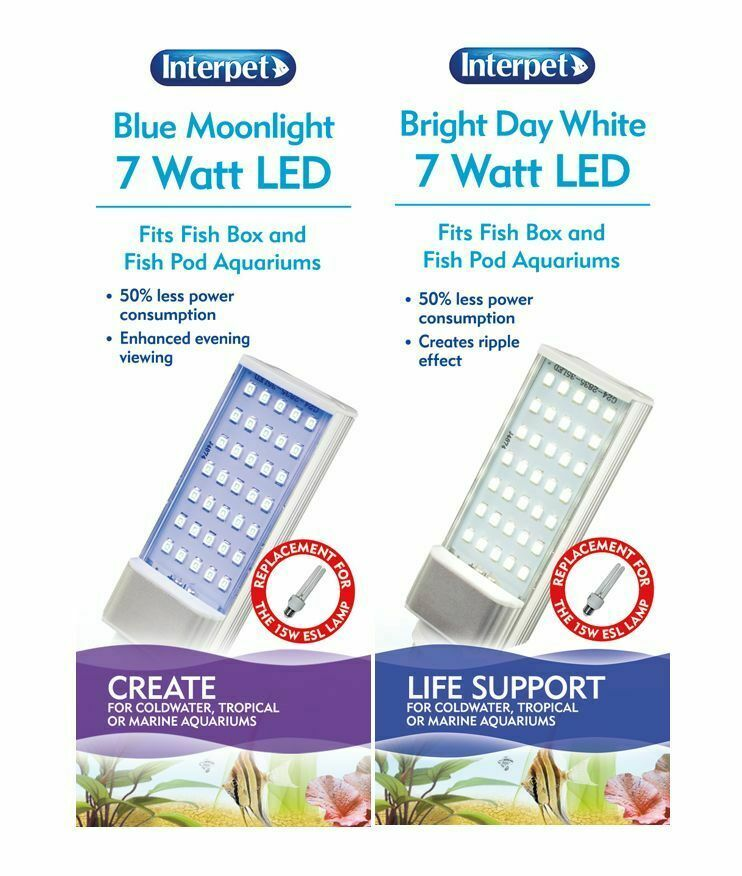 INTERPET POD MOON BOX TANK SPARE LED BULB LAMP LIGHT TUBE 7w REPLACEMENT OF 15w