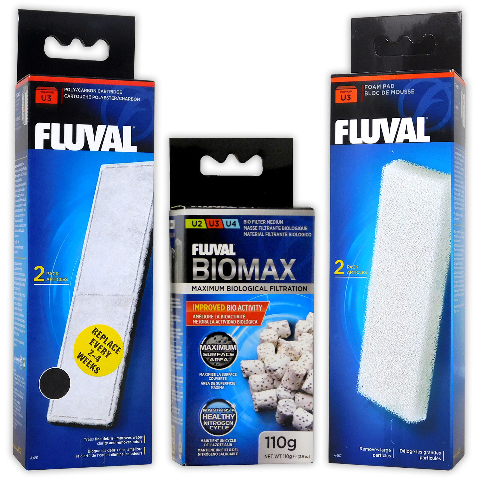 Fluval U3 Filter Media Foam Poly Carbon Biomax Internal Fish Tank Aquarium