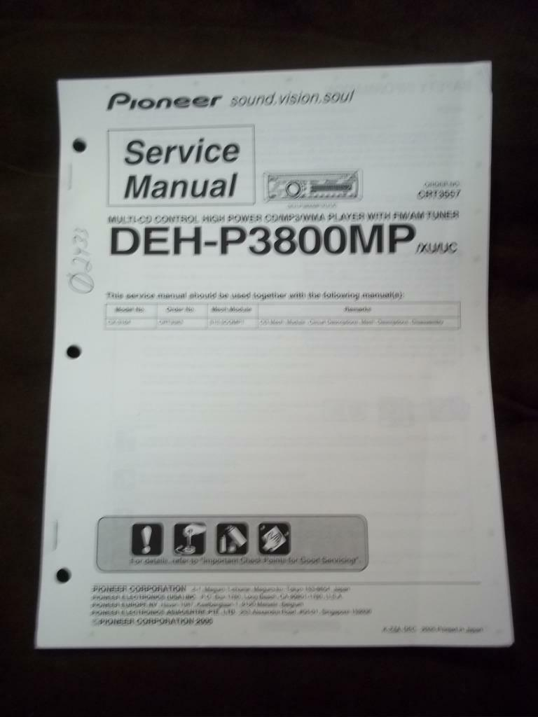 pioneer service manual for the deh p3800mp car stereo radio cd rh picclick com Pioneer Deh Wiring Harness Diagram Pioneer Deh 1600