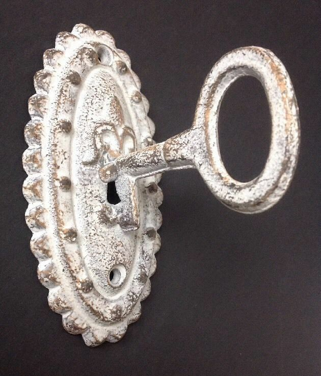 Oval Cast Iron Vintage Door Plate Skeleton Key Coat Hook Antique Style Hardware