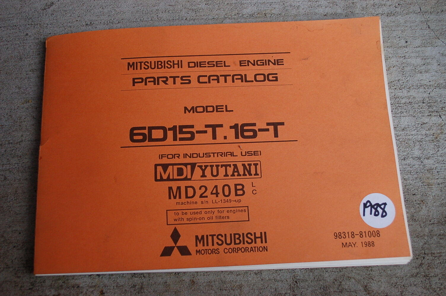 MITSUBISHI 6D15-T.16-T Diesel Engine Parts Manual book catalog list 1988 1  of 4Only 1 available See More
