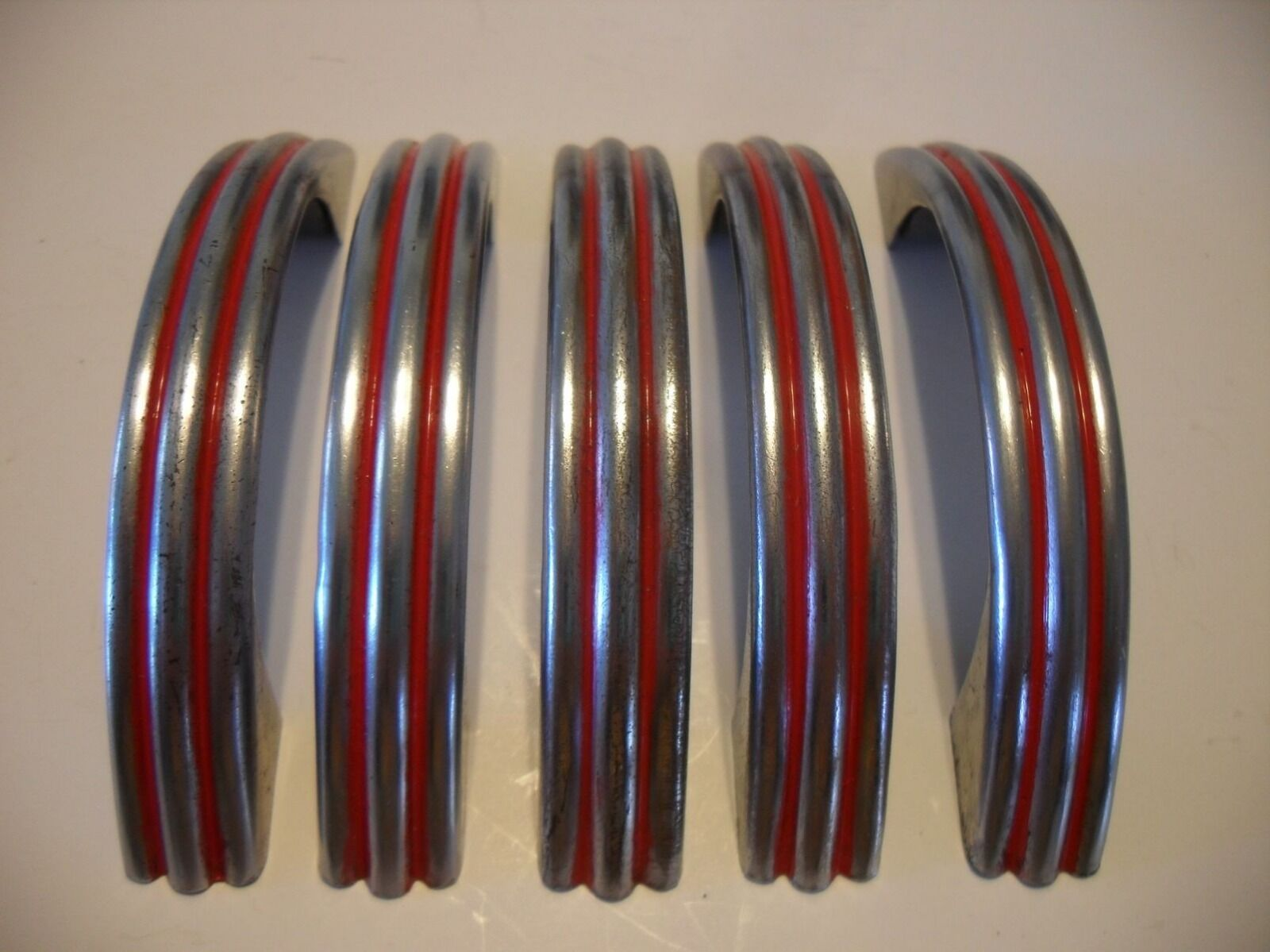 5 VINTAGE 1940's CHROME Steel Drawer Pulls RED Lines Ribbed Cabinet Door Handles