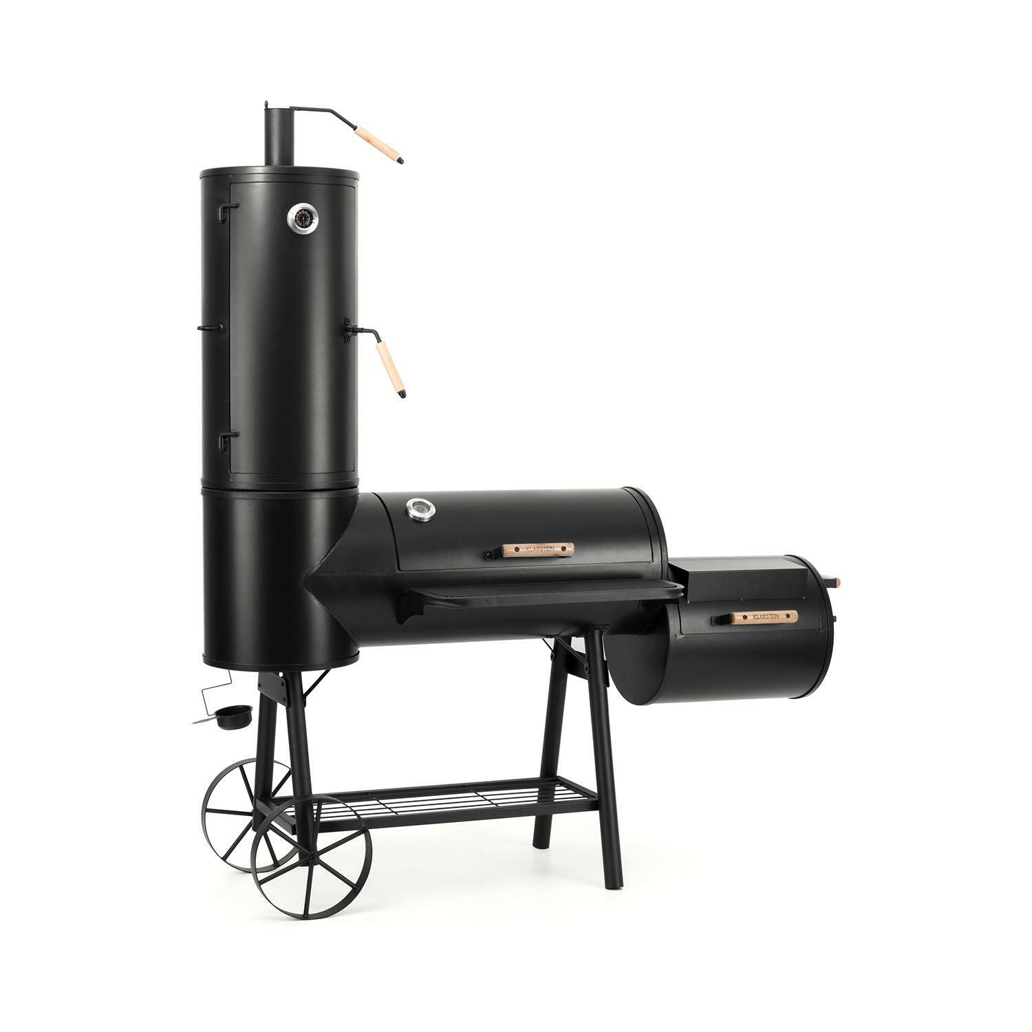 smoker grill grillwagen gartengrill 3 grilleinheiten thermometer stahlblech eur 599 99. Black Bedroom Furniture Sets. Home Design Ideas