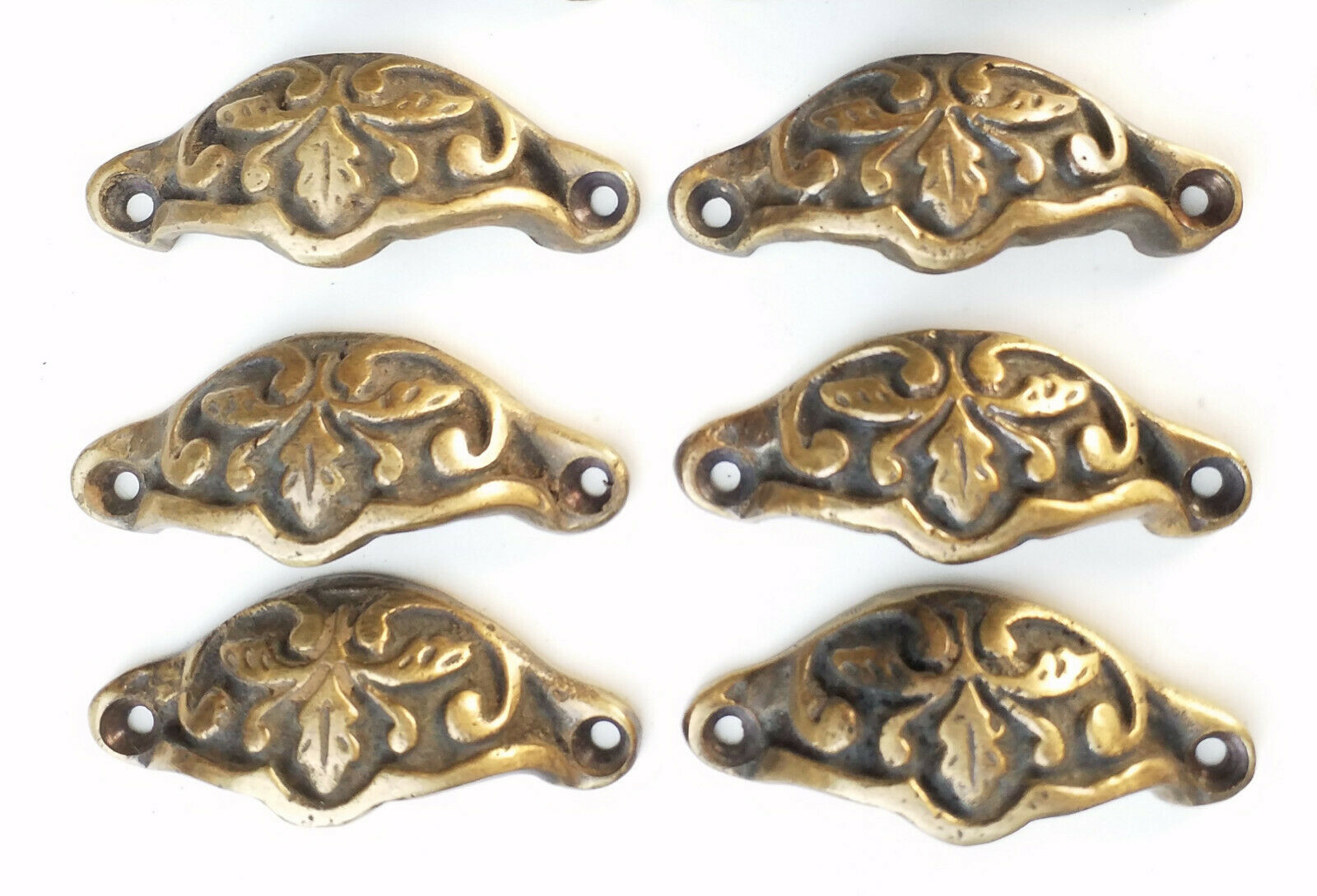 "6 Solid antique brass 2 7/8"" oak leaf apothecary cabinet drawer handles #A3"