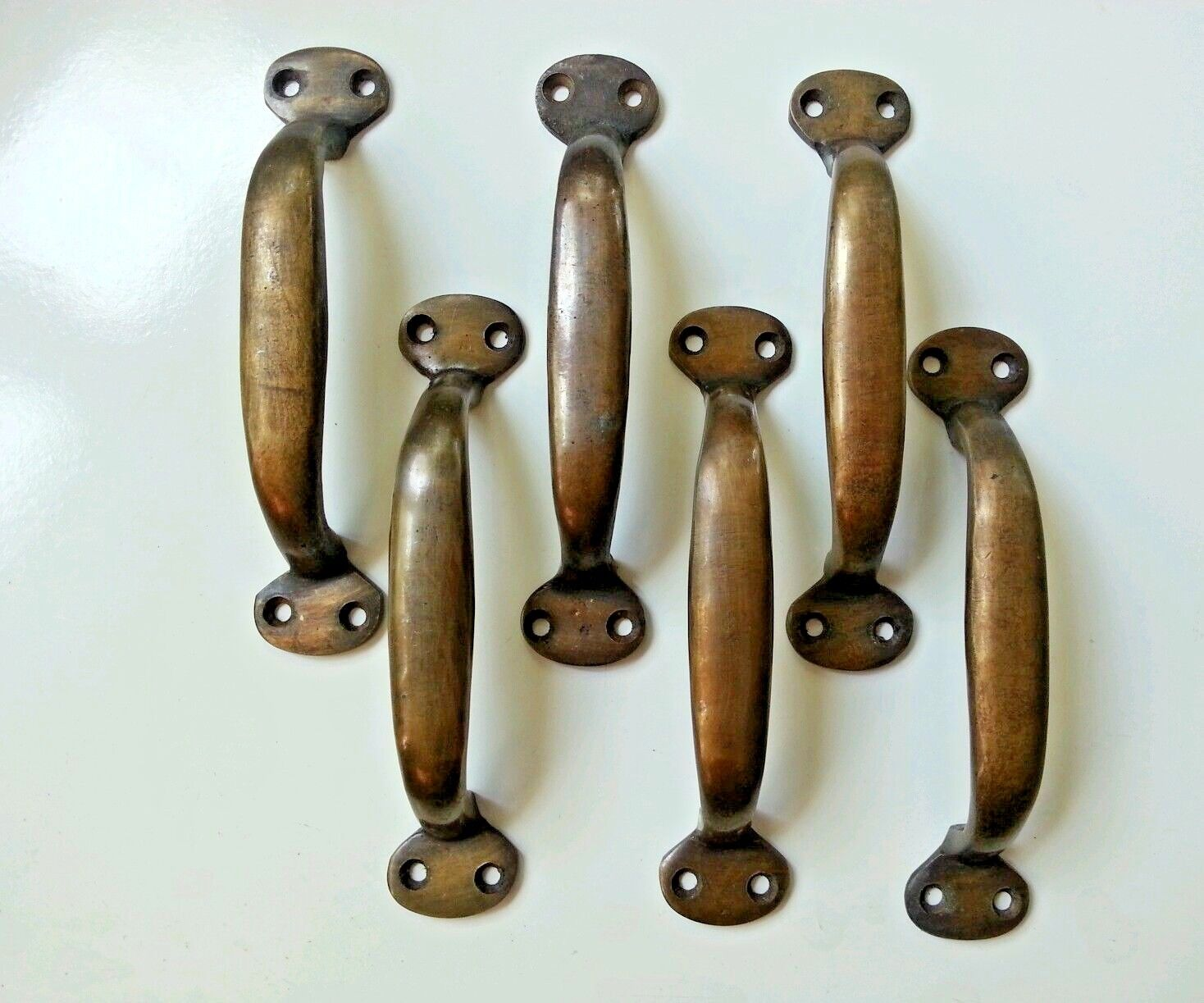 """6 Solid brasss large  strong file cabinet trunk handles  5 1/4"""" #P1"""