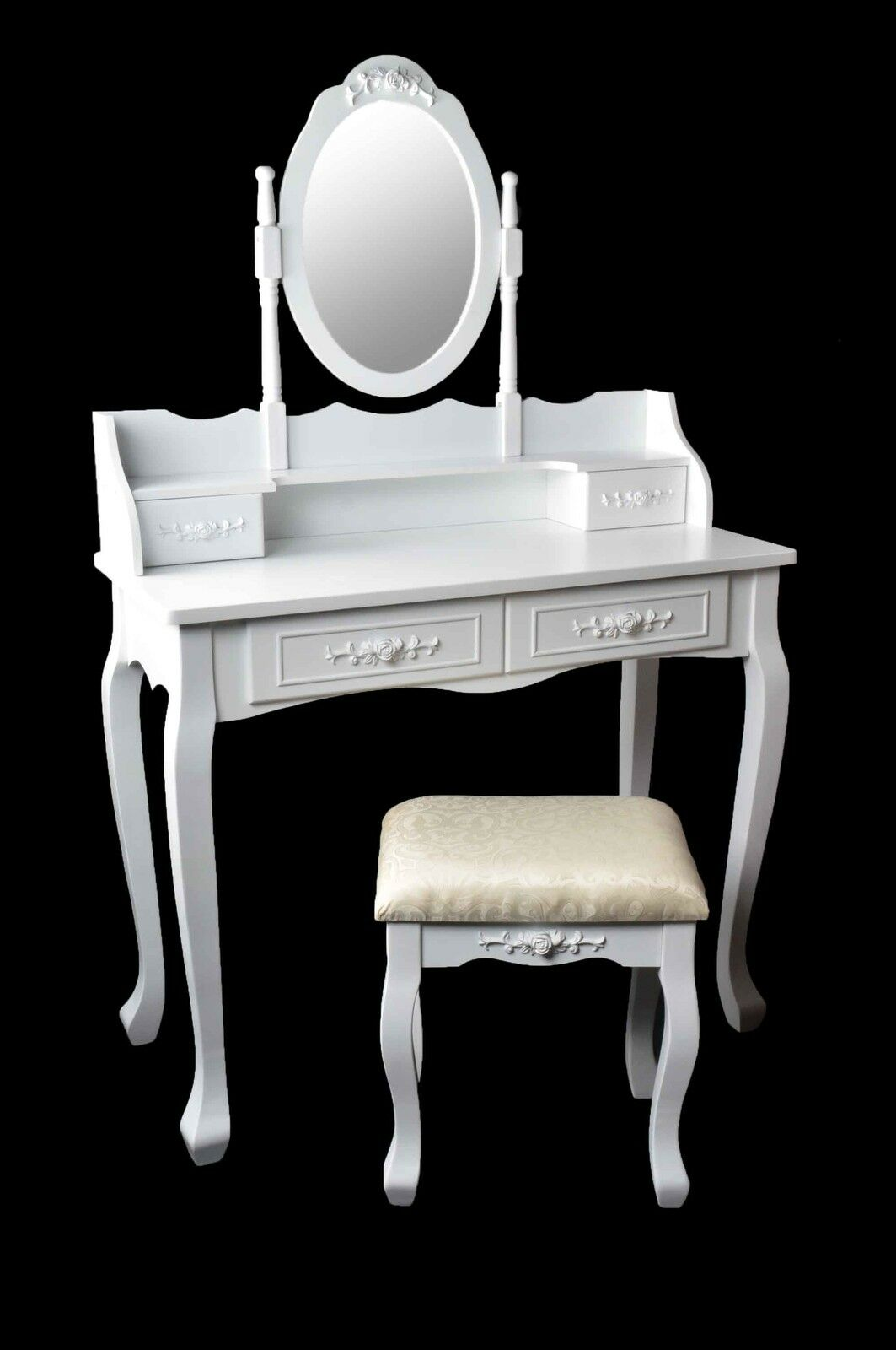 Marry coiffeuse coiffeuse coiffeuse avec miroir tabouret vintage blanc - Coiffeuse miroir tabouret ...