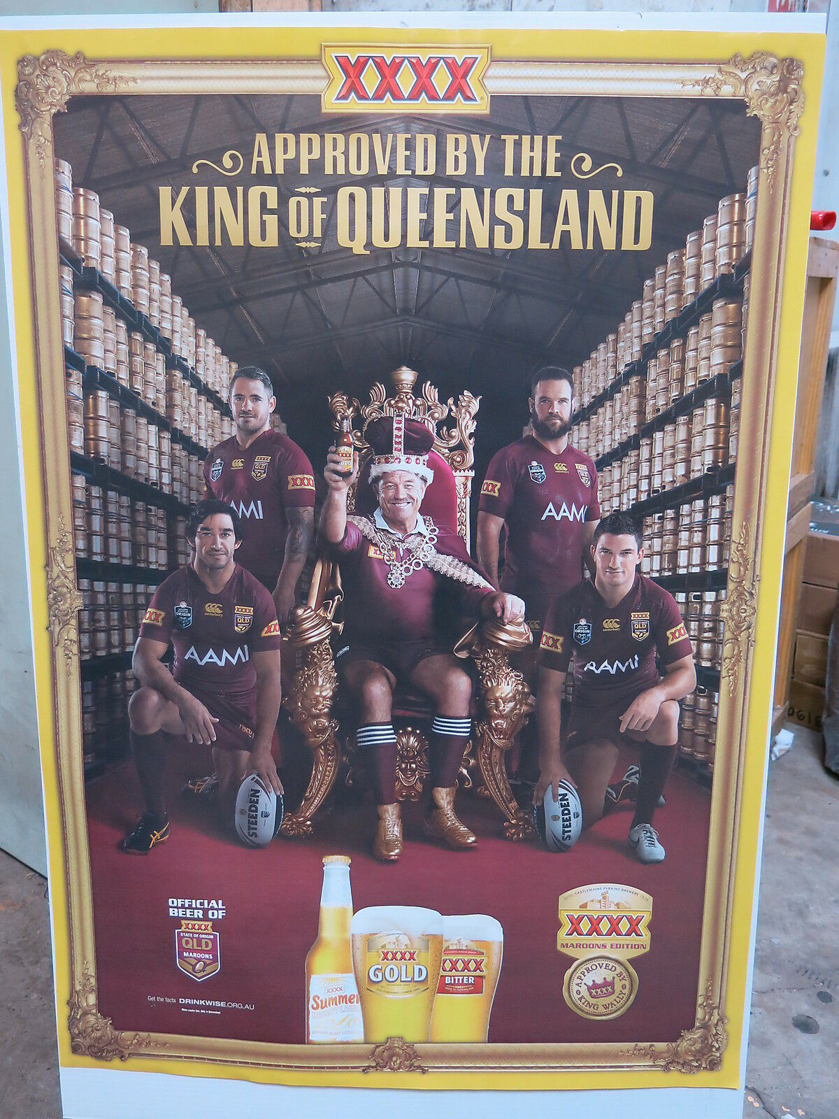 A1 Poster XXXX Gold Approved By The King of Queensland Wally Lewis Maroon Origin