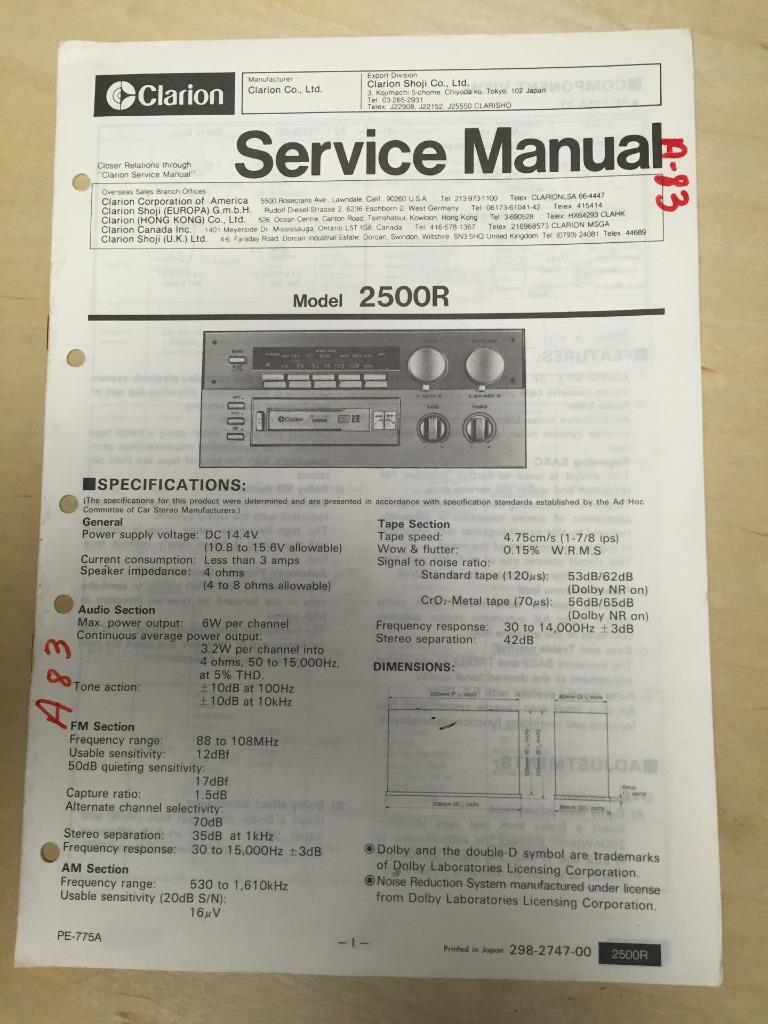 Clarion Db286usb Wiring Diagram User Hiniker Vrx485vd Amazing Cz100 Swc Photos Everything You Service Manual For The 2500r Cassette