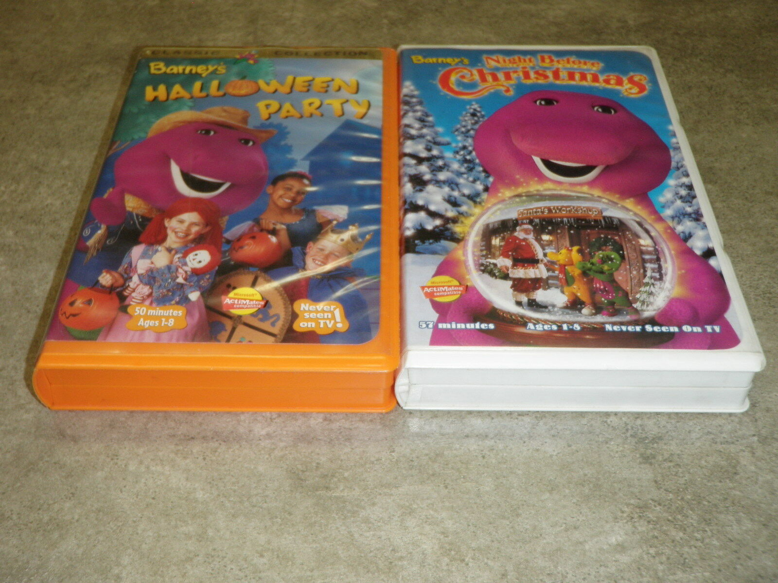 LOT OF 2 VHS Barney\'s Halloween Party & Barney\'s Night Before ...
