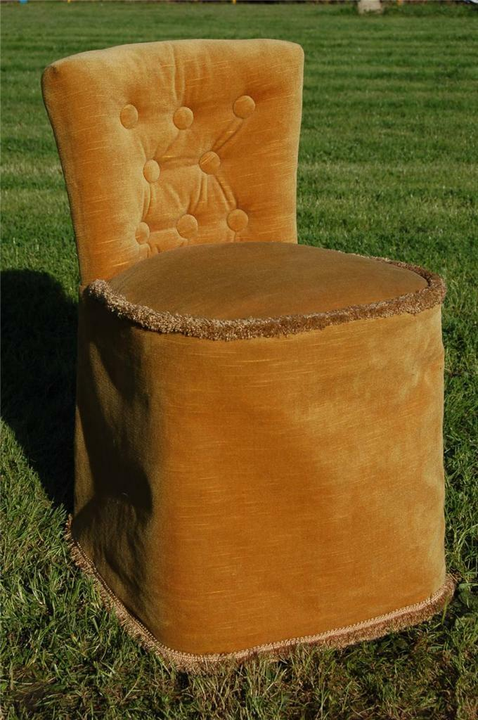 Fab Vintage Retro Bentwood Covered Bedroom Petite Chair Button Backed