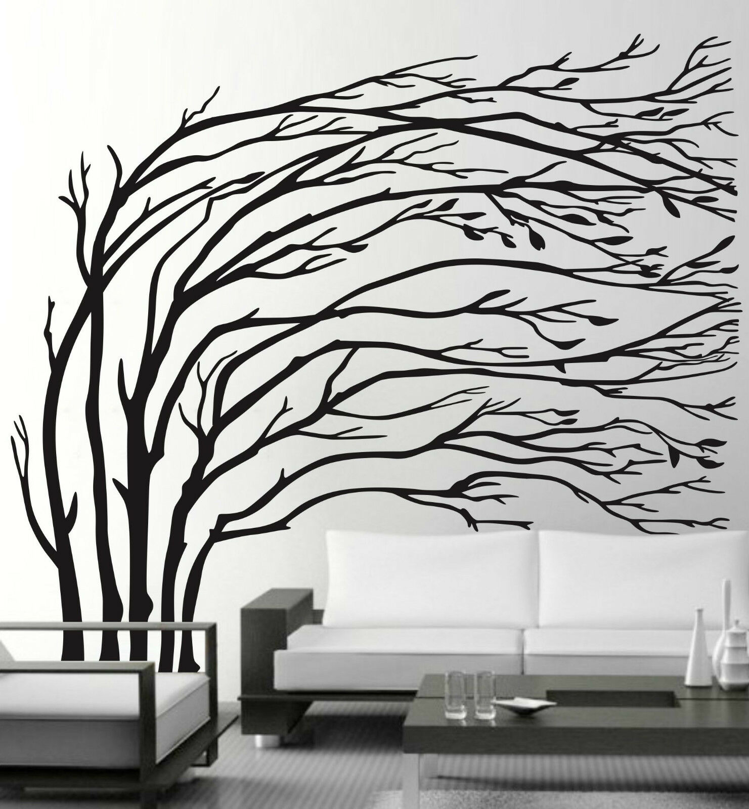 Large Blowing Tree Wall Stickers Vinyl Decal Removable Home Decor
