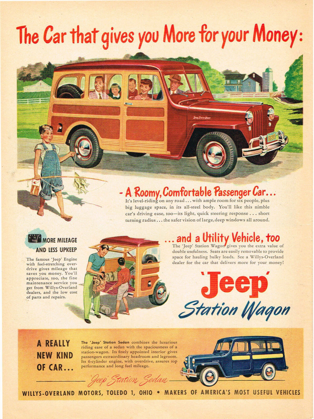 Jeep Woody Station Wagon Utility Vehcle 1949 Paper Ad 10 X 14 1941 Willys 1 Of 1only Available