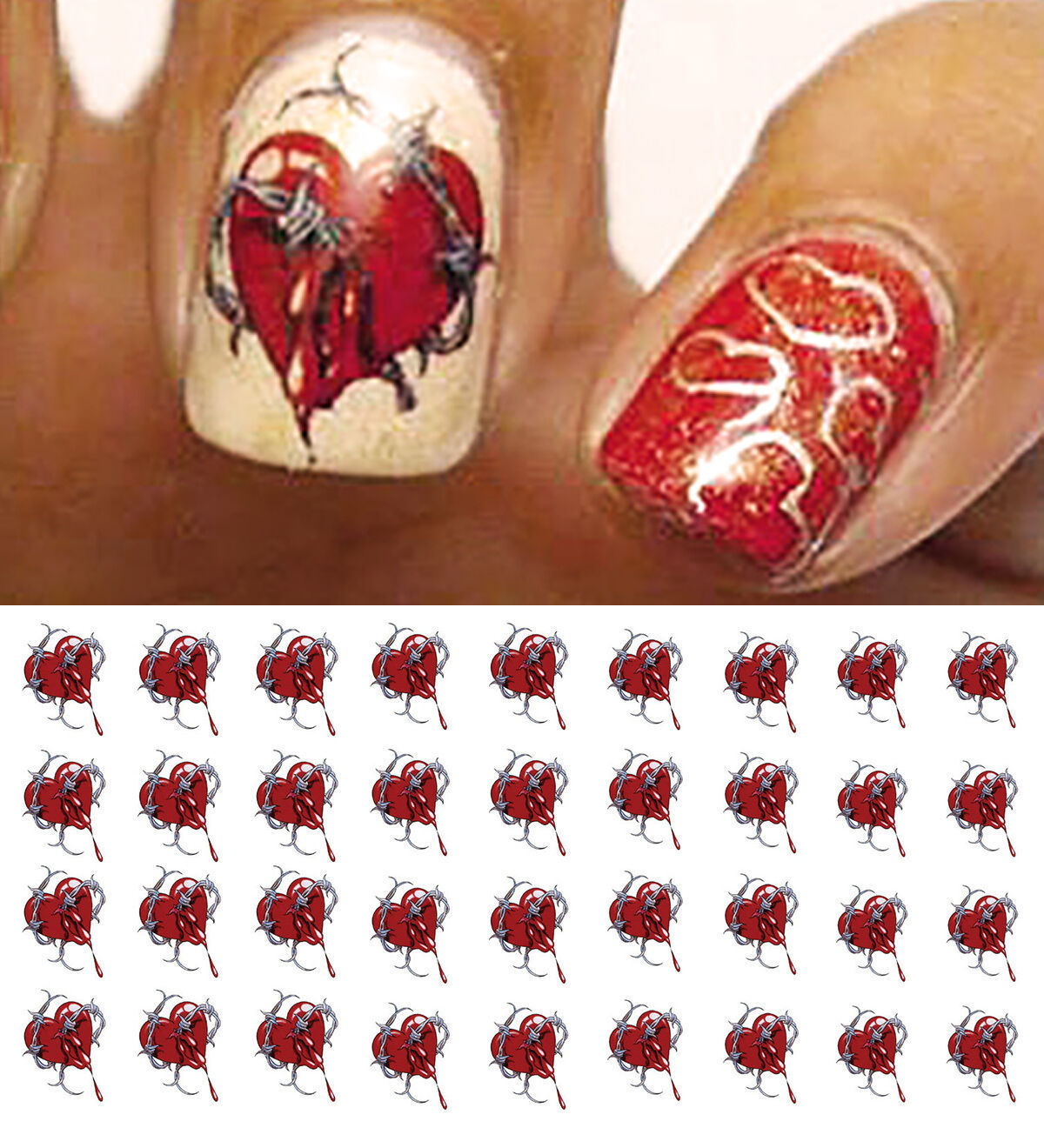 Barbed Wire Heart Nail Art Waterslide Decals Salon Quality