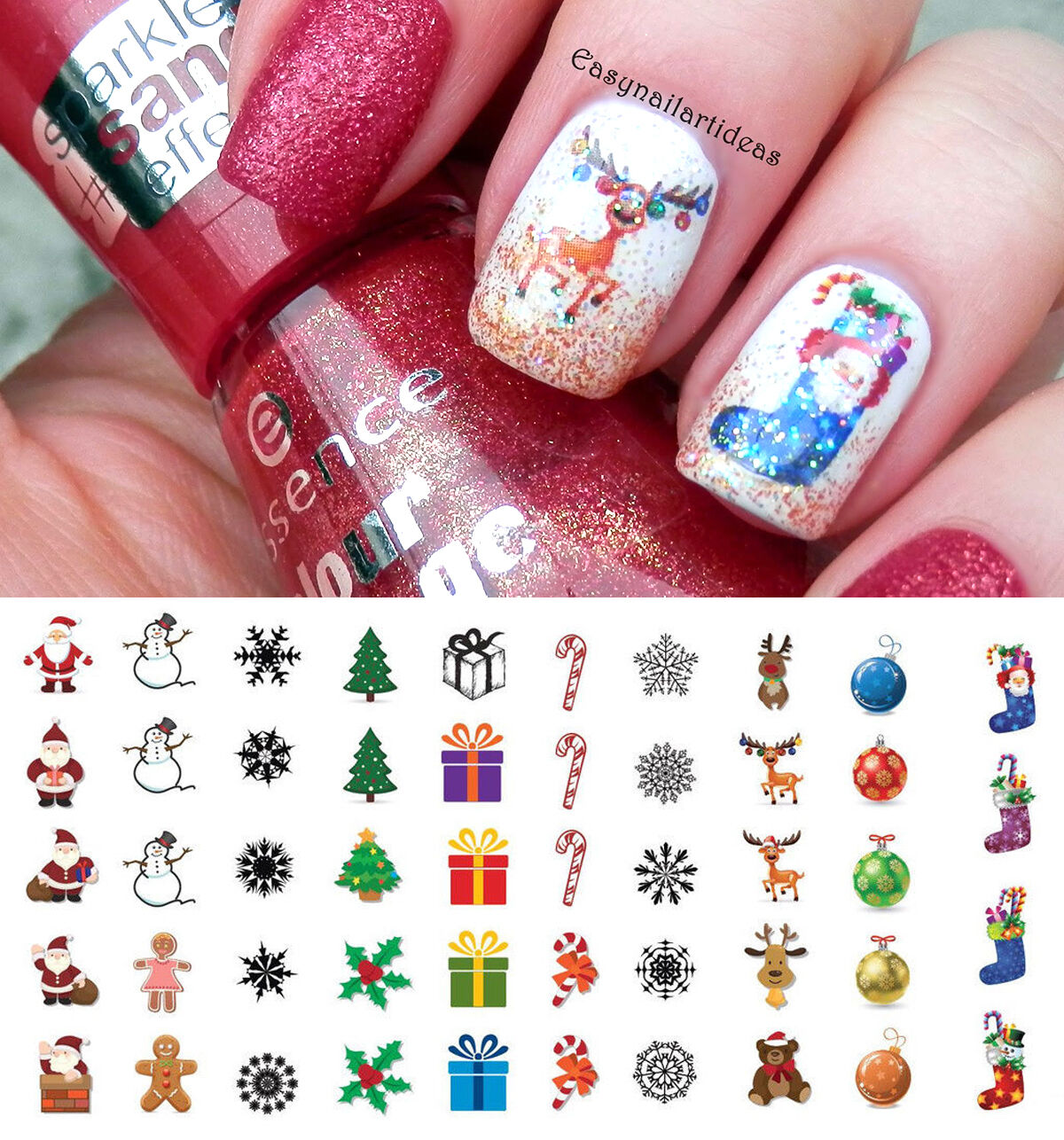 Holiday Christmas Nail Art Waterslide Decals Salon Quality 1 Of 12free Shipping
