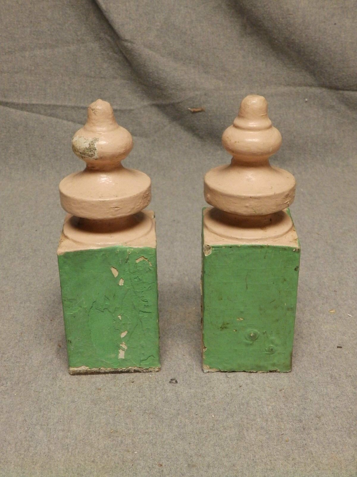 Antique Pair Wood Porch Span Drop Finials Decorative Gingerbread Old Vtg 417-16