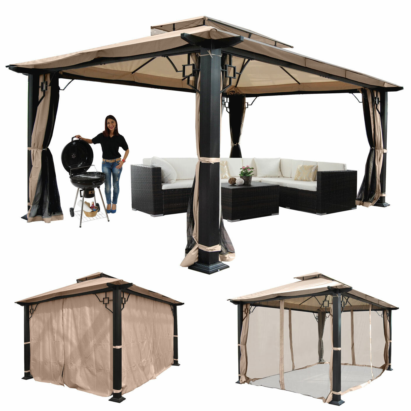 pergola mira garten pavillon 12cm luxus alu gestell 3 5x3 5m oder 4 5x3 5m eur 559 99. Black Bedroom Furniture Sets. Home Design Ideas