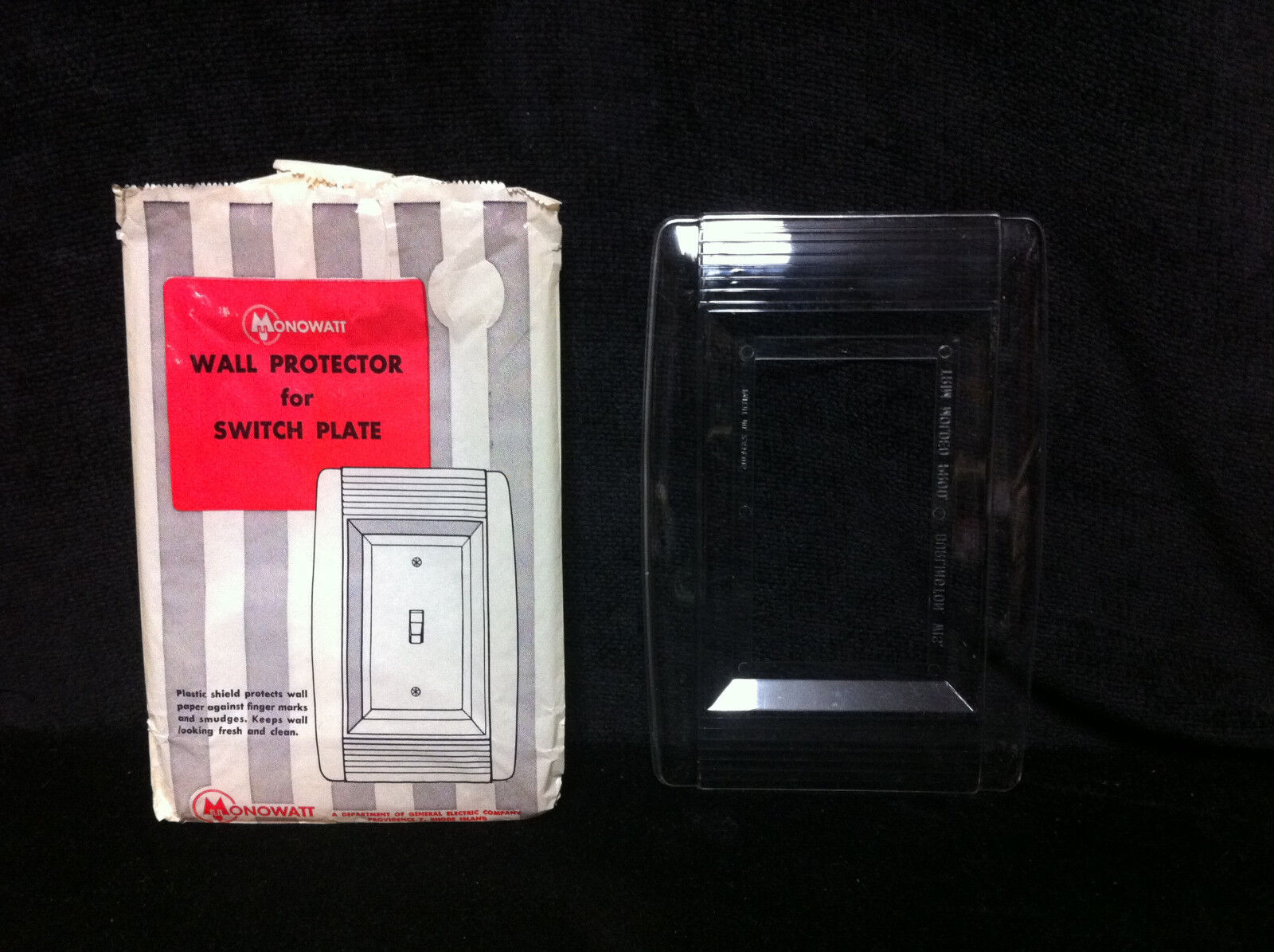 VINTAGE Switch Plate Outlet Cover Decorative Wall Protector Shield Clear Single
