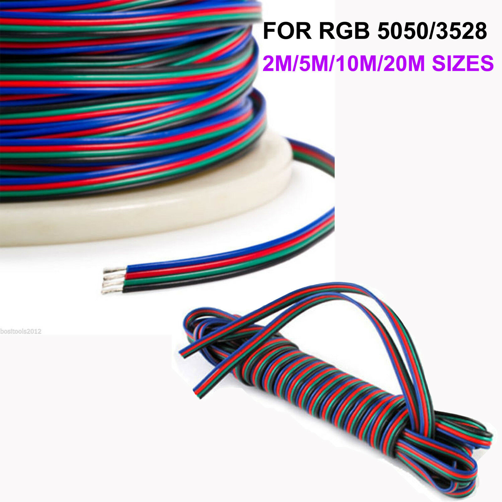 Brand New 2m 5m 10m 20m 4 Pin Rgb Extension Cable Wire For 3528 5050 Connector Cord Led Strip Ebay