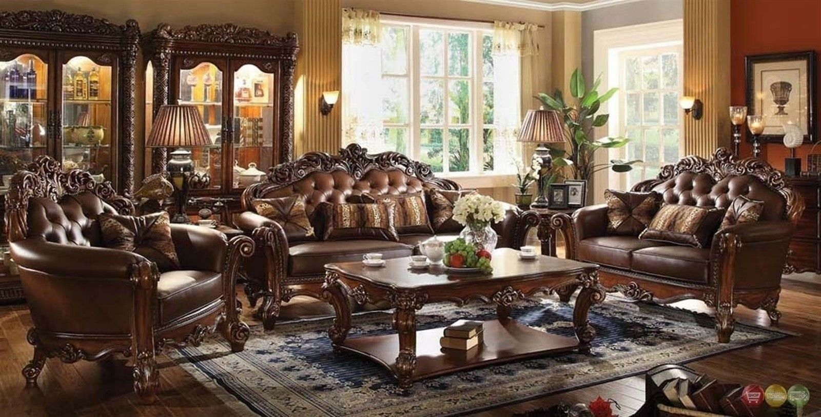 Vendome Traditional Brown 6 Pc Formal Living Room Set Sofa Loveseat Chair  Tables