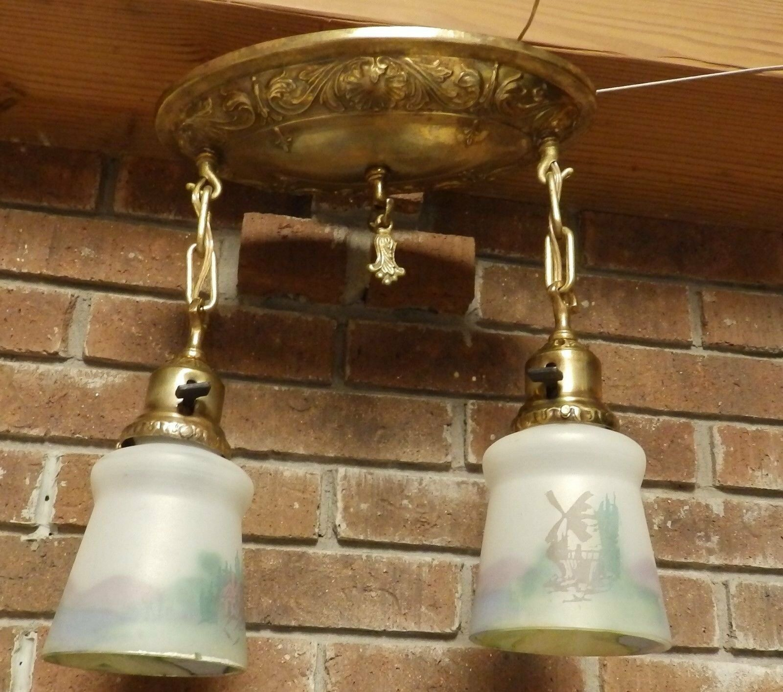 Antique Victorian Brass Pan Chandalier Painted Glass Shades Old Vtg 525-16