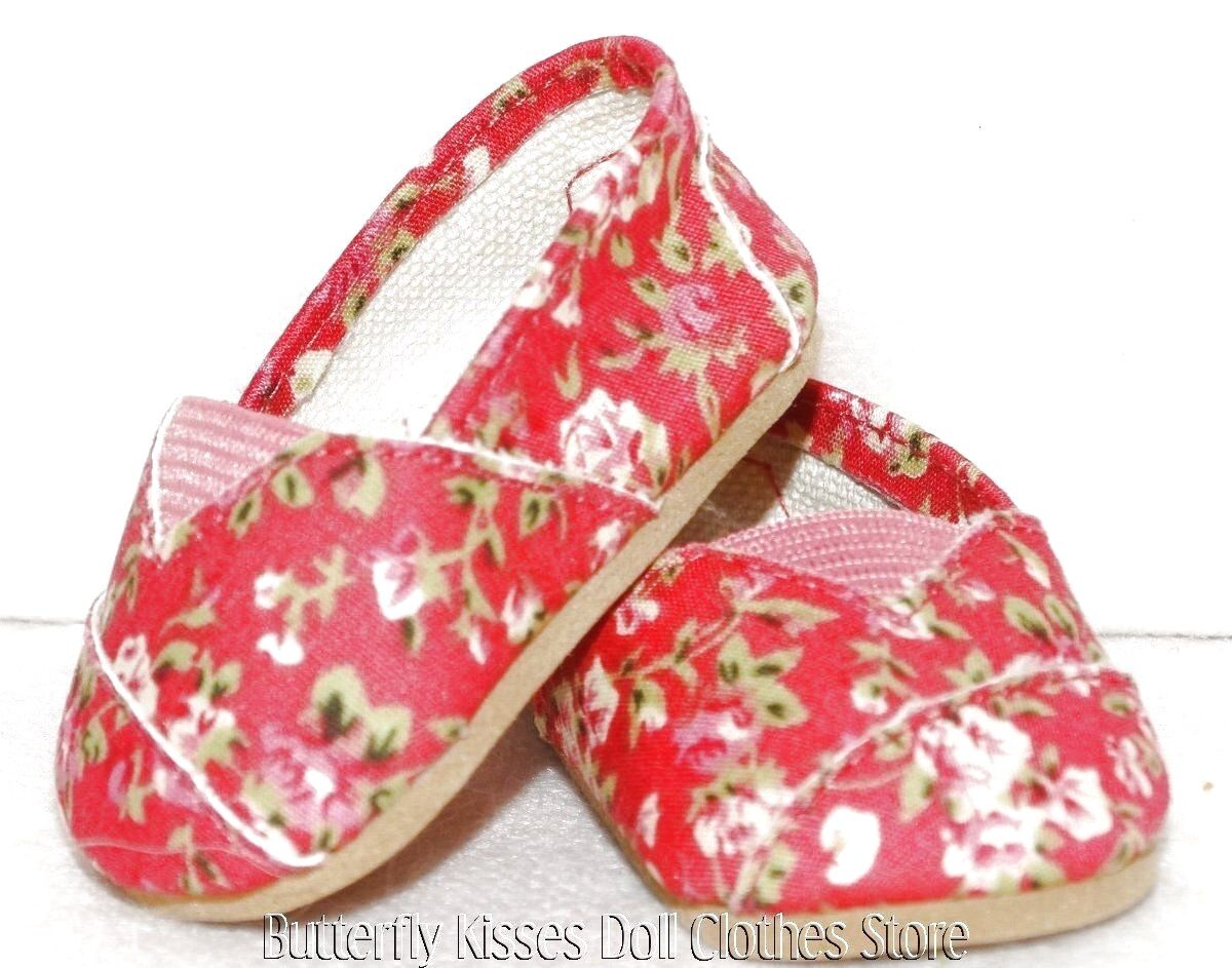 Hot Pink Flower Canvas Slip On Shoes 18 In Doll Clothes Fits